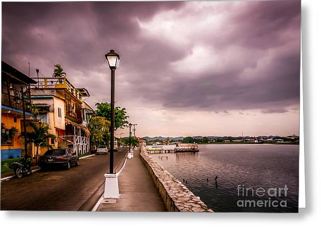 Streetlight Greeting Cards - Before the storm Greeting Card by Catherine Arnas