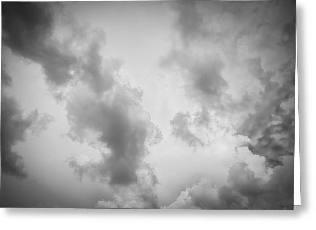 Golden Shower Greeting Cards - Before the Storm Clouds Stratocumulus BW 10 Greeting Card by Rich Franco