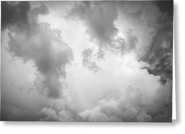 Golden Shower Greeting Cards - Before the Storm Clouds Stratocumulus BW 9 Greeting Card by Rich Franco