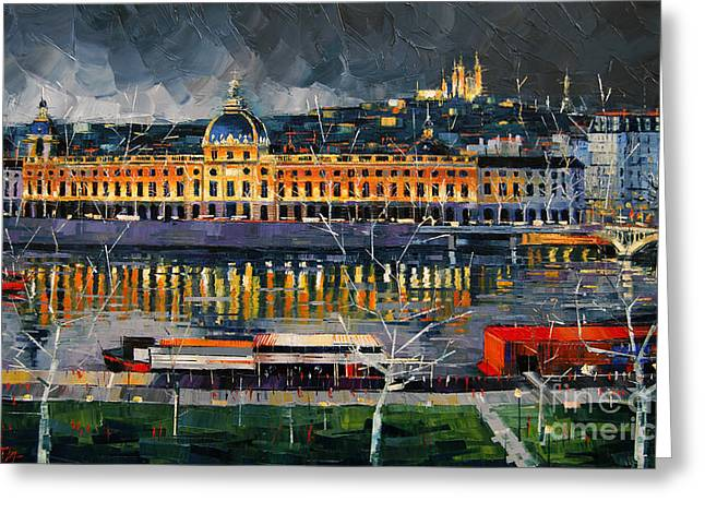 Mona Edulescu Greeting Cards - Before The Storm - View On Hotel Dieu Lyon And The Rhone France Greeting Card by Mona Edulesco