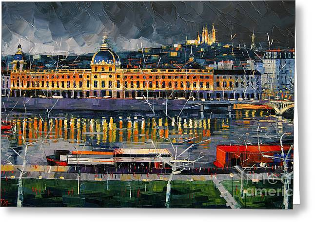 Modern Impressionist Greeting Cards - Before The Storm - View On Hotel Dieu Lyon And The Rhone France Greeting Card by Mona Edulesco