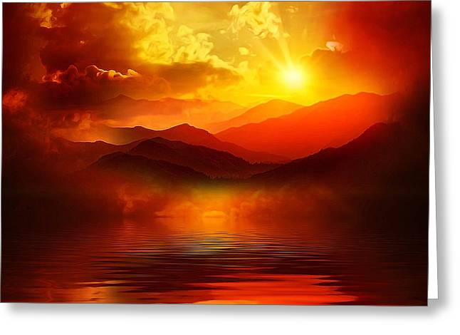 Sea View Greeting Cards - Before the sun goes to sleep Greeting Card by Gabriella Weninger - David