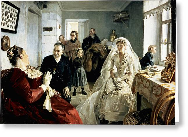 Dressed Up Greeting Cards - Before The Wedding, 1880s Oil On Canvas Greeting Card by Illarion Mikhailovich Pryanishnikov
