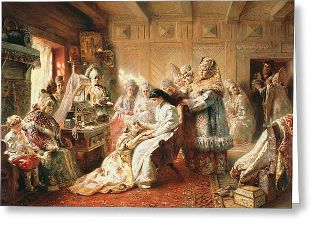 Dressing Room Photographs Greeting Cards - Before The Wedding, 1890 Oil On Canvas Greeting Card by Konstantin Egorovich Makovsky