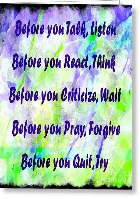 Criticize Greeting Cards - Before You Quit 2 Greeting Card by Barbara Griffin