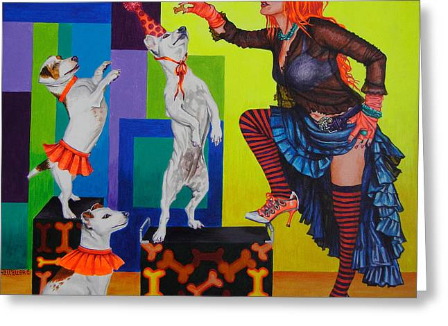 Bright Art Of Dogs Greeting Cards - Beg Greeting Card by Louise Hallauer