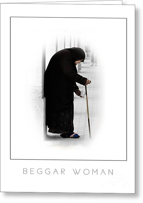 Distraught Greeting Cards - Beggar Woman poster Greeting Card by Mike Nellums