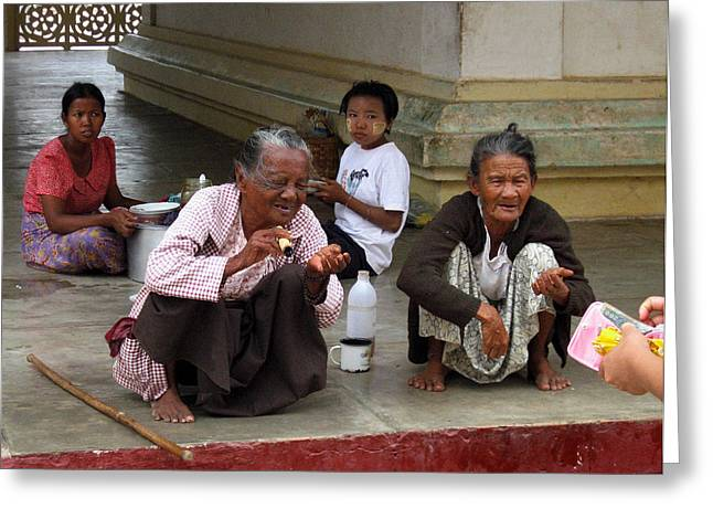 Smoker Greeting Cards - Begging for money in the Shwezigon Pagoda Greeting Card by RicardMN Photography
