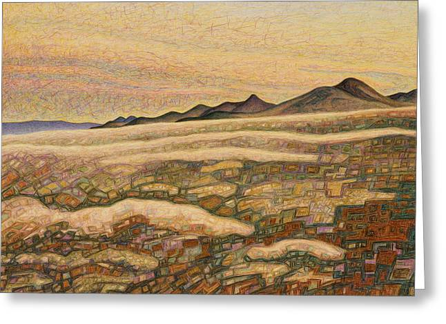 Santa Fe Pastels Greeting Cards - Begining sunset Greeting Card by Dale Beckman