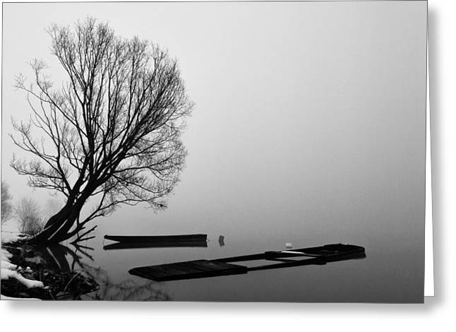 Greyscale Greeting Cards - Beginning of the End Greeting Card by Davorin Mance