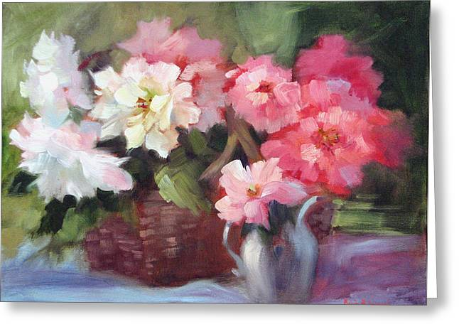 Begonias Greeting Cards - Begonias Greeting Card by Karin  Leonard