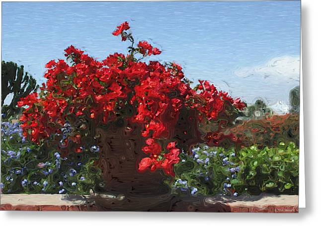 Blue Begonias Greeting Cards - Begonias on the Patio Greeting Card by Mary Machare