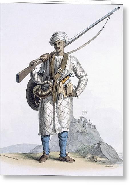 Powder Greeting Cards - Behaleea Or Hindu Soldier Greeting Card by Franz Balthazar Solvyns