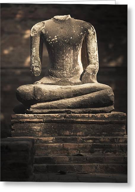 Beheaded Buddha Greeting Card by Maria Heyens
