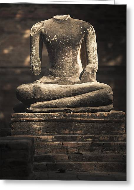 Head Dark Buddha Greeting Cards - Beheaded Buddha Greeting Card by Maria Heyens