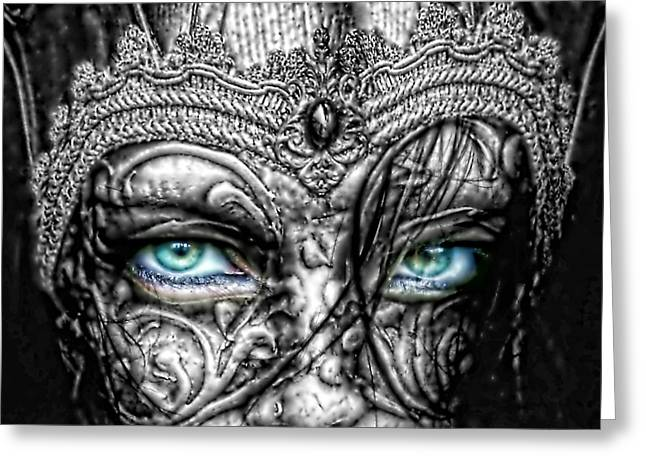 White Digital Greeting Cards - Behind Blue Eyes Greeting Card by Mo T