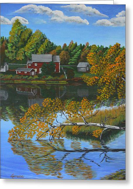 Little Red River Paintings Greeting Cards - Behind Rollies House Greeting Card by Lorraine Vatcher