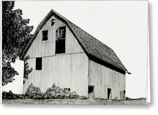 Old Barn Drawing Greeting Cards - Behind The Barn Greeting Card by Todd Spaur