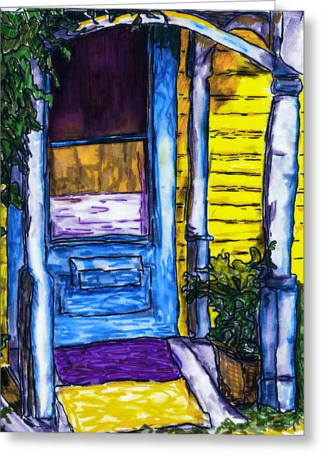 Kingston Mixed Media Greeting Cards - Behind the Blue Door Greeting Card by Jo-Anne Gazo-McKim
