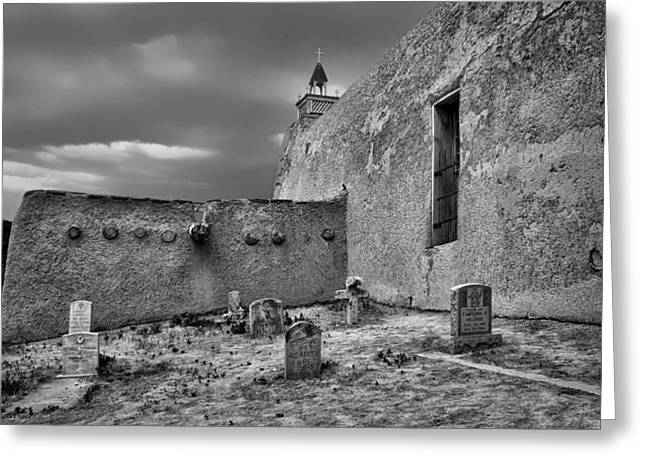 Adobe Greeting Cards - Behind the Church - San Jose de Gracia Church - New Mexico - Black and White Greeting Card by Nikolyn McDonald