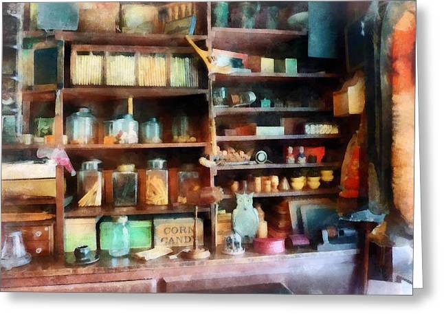 Candy Jar Greeting Cards - Behind the Counter at the General Store Greeting Card by Susan Savad