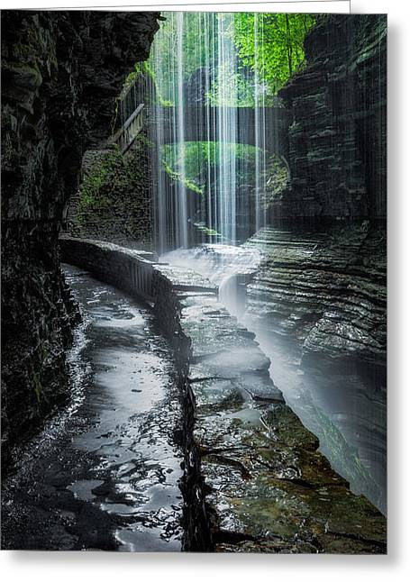 Seneca Valley Greeting Cards - Behind the Falls Greeting Card by Bill  Wakeley