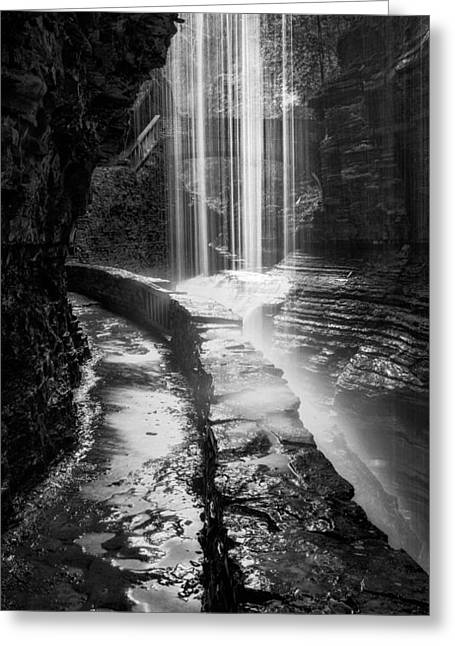 Ethereal Waterfalls Greeting Cards - Behind The Falls Black And White Greeting Card by Bill  Wakeley