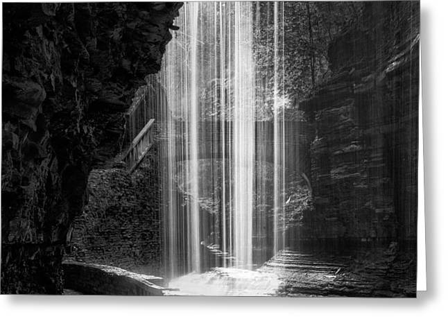 Seneca Greeting Cards - Behind The Falls Black And White Square Greeting Card by Bill  Wakeley