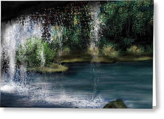 Sketchbook Greeting Cards - Behind the Falls Greeting Card by Ron Grafe