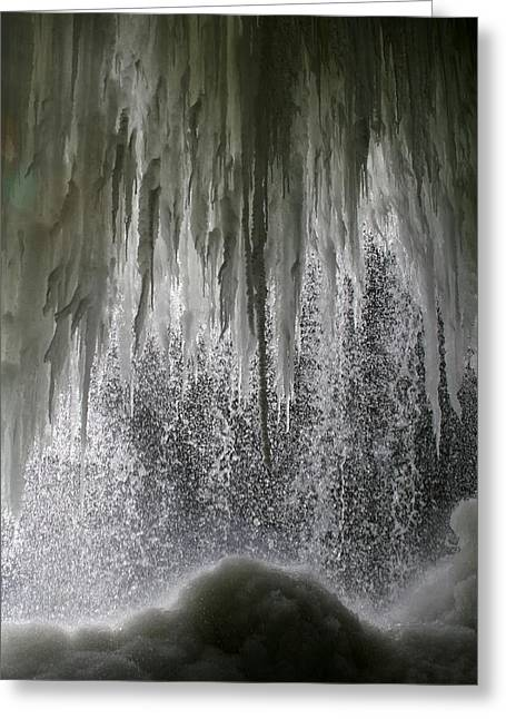 Behind The Falls Greeting Cards - Behind the Falls Greeting Card by Sandy Fraser