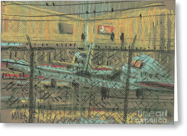 Fence Drawings Greeting Cards - Behind the Fence Greeting Card by Donald Maier
