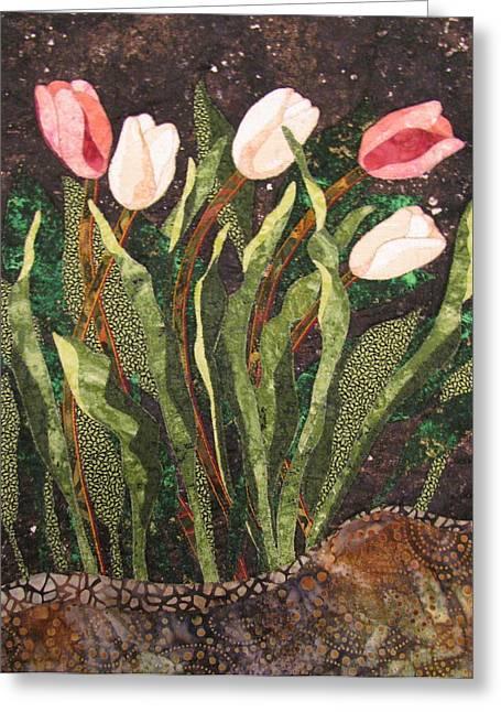 Garden Art Tapestries - Textiles Greeting Cards - Behind the Garden Wall Greeting Card by Lynda K Boardman
