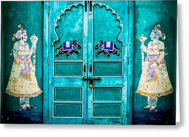 Behind the green door Greeting Card by Catherine Arnas