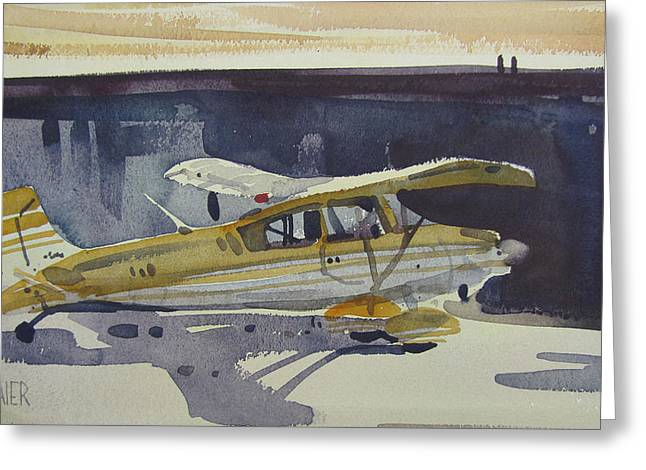 Piper Cub Greeting Cards - Behind the Hanger Greeting Card by Donald Maier