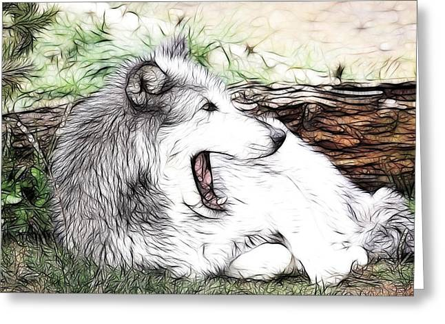 Preditor Greeting Cards - Behind The Log Greeting Card by Steve McKinzie