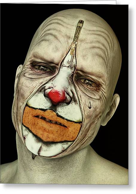 Exposing Thoughts Greeting Cards - Behind The Mask - The Tears of a Clown Greeting Card by Liam Liberty