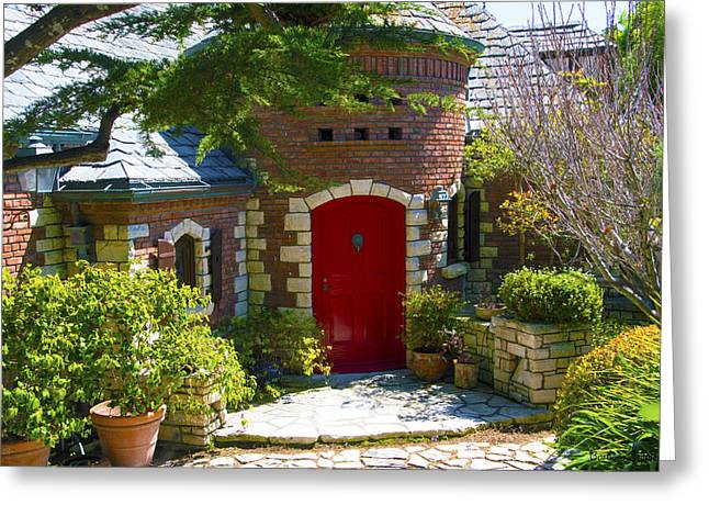 Entryway Greeting Cards - Behind The Red Door Pismo Beach California Greeting Card by Barbara Snyder