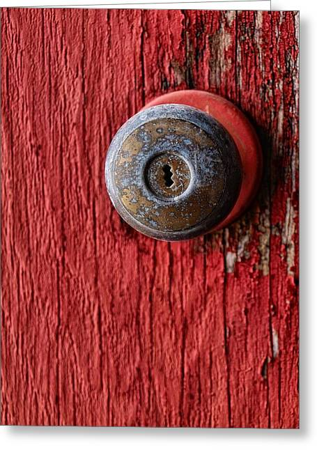 Behind The Red Door Greeting Card by Tom Druin