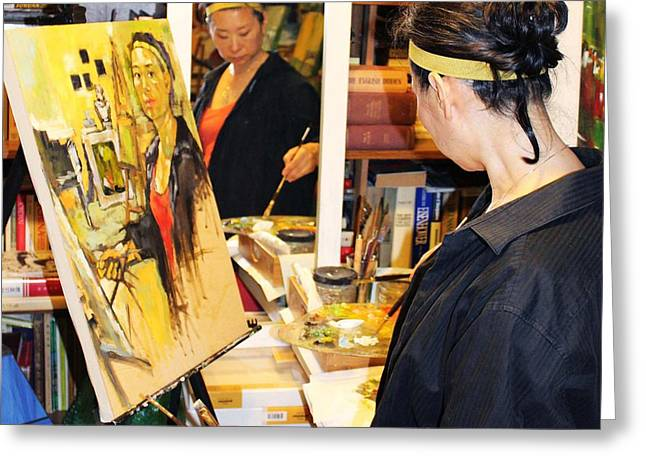 Photograph Of Painter Greeting Cards - Behind the Scenes - Painting Self Portraits Greeting Card by Becky Kim