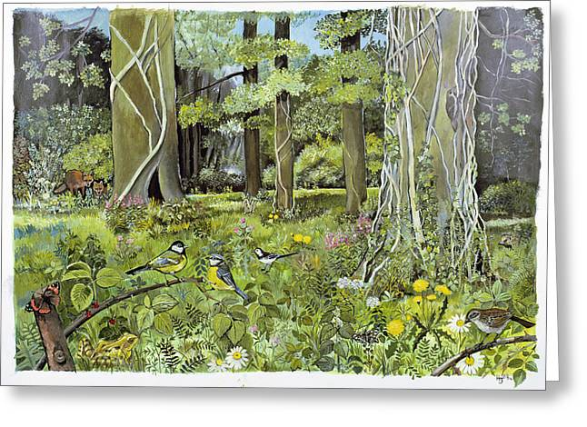 Tit Greeting Cards - Behind The Squires, Devon Acrylic On Paper Greeting Card by Hilary Jones