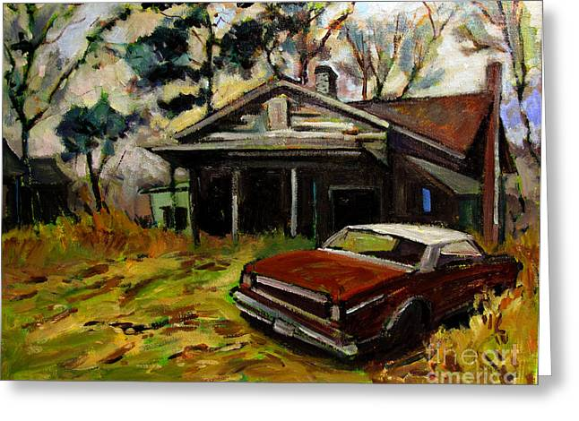 Dilapidated Paintings Greeting Cards - Behind the Times Greeting Card by Charlie Spear