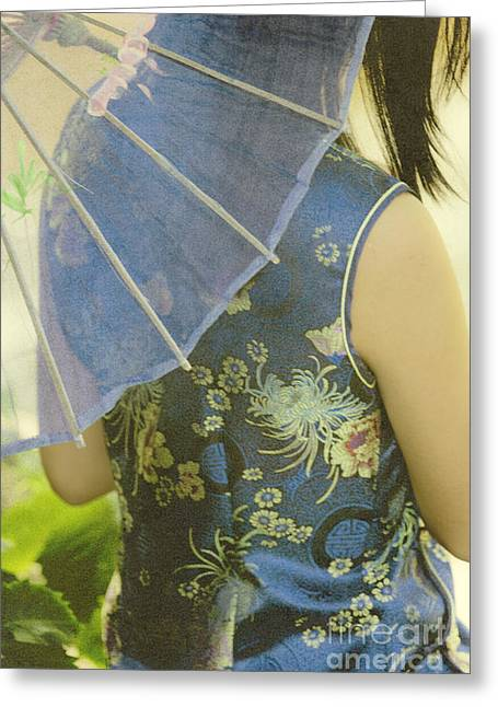 Chinese Woman Greeting Cards - Behind the Umbrella Greeting Card by Margie Hurwich