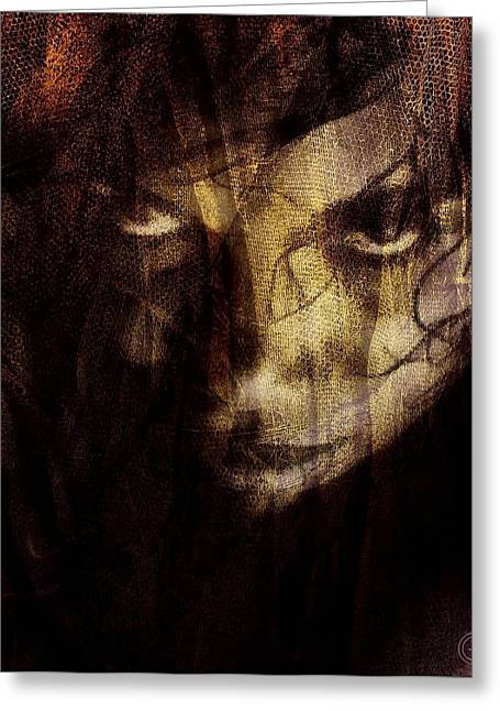 Black Veil Greeting Cards - Behind the veil Greeting Card by Gun Legler