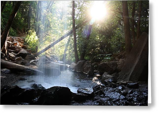 Hedge Creek Greeting Cards - Behind the Veil of Hedge Creek Falls Greeting Card by Andrea Borden