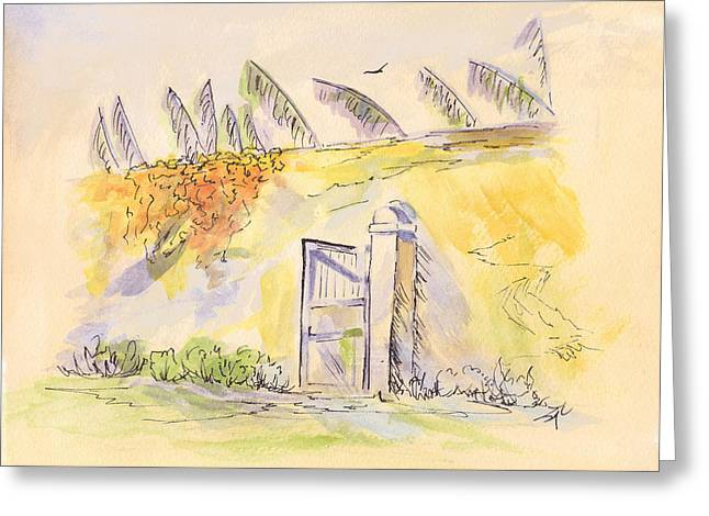 Pueblo Drawings Greeting Cards - Behind the Wall Greeting Card by Syl Lobato