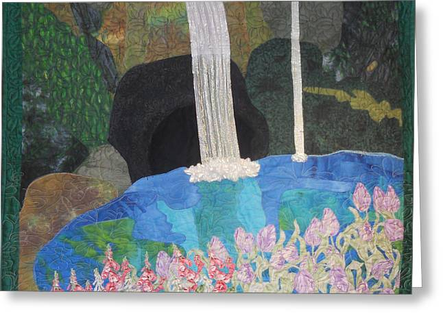 Black Tapestries - Textiles Greeting Cards - Behind The Waterfall Greeting Card by Aisha Lumumba