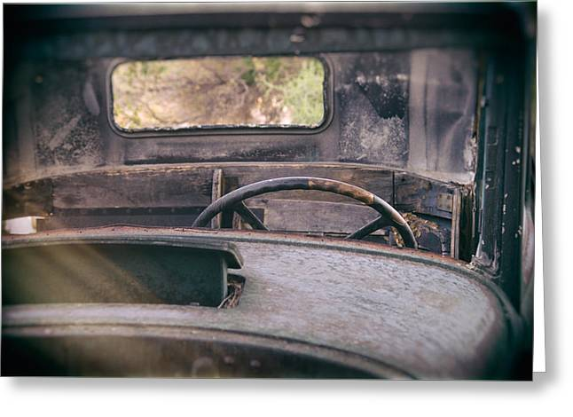Old Trucks Greeting Cards - Behind the Wheel Greeting Card by Peter Tellone