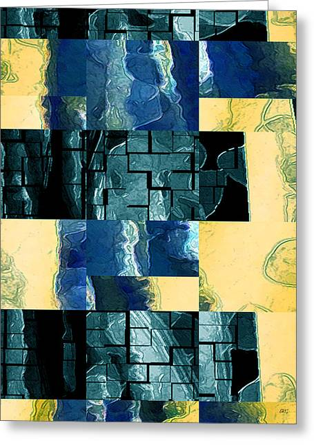 Green And Yellow Abstract Greeting Cards - Behind The Windows No 3 Greeting Card by Ben and Raisa Gertsberg