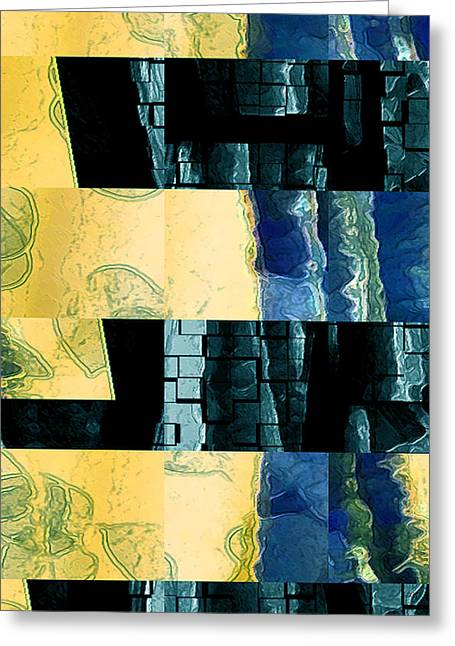 Green And Yellow Abstract Greeting Cards - Behind The Windows No 2 Greeting Card by Ben and Raisa Gertsberg