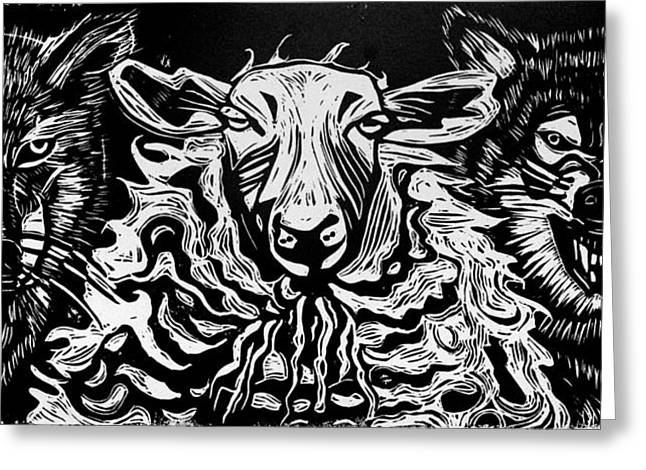 Printmaking Paintings Greeting Cards - Behold I Send You out as Sheep Among Wolves Greeting Card by Sarah Taylor Ko